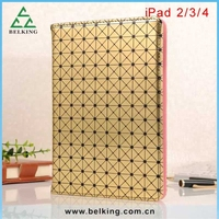 For iPad 234 luxury leather case / Folio leather case for iPad 4 book style cover