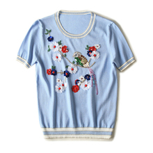 2017 Summer Runway Designer Pullover Women's High Quality Short Sleeve Luxury Diamonds Sequined Birds Foral Sweater
