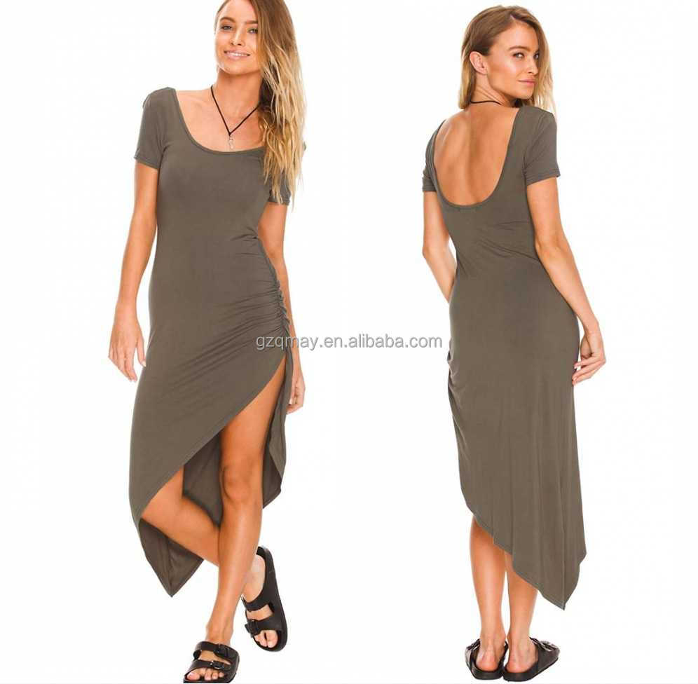 Custom Made Good Prices Best Quality Deep U Back Scoop Neck Asymmetric Womens Clothing Wholesale Distributor