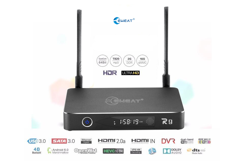 2017 Hot Selling OTT 2G+16G android 6.0 streaming HD 4K&3D media player Realtek 1295 android tv box