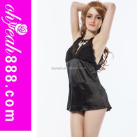 Competitive price China hot sales fashion mature women transparent black babydoll hot women sexy nighty