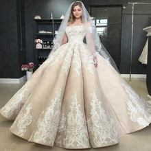 Luxury Champagne Lace Wedding Dress Ball Gown Sweetheart Bridal Gown 2018 Dresses