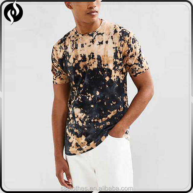 Hot popular bleach dye hip hop men clothing t shirt short sleeve custom stone washed t-shirts