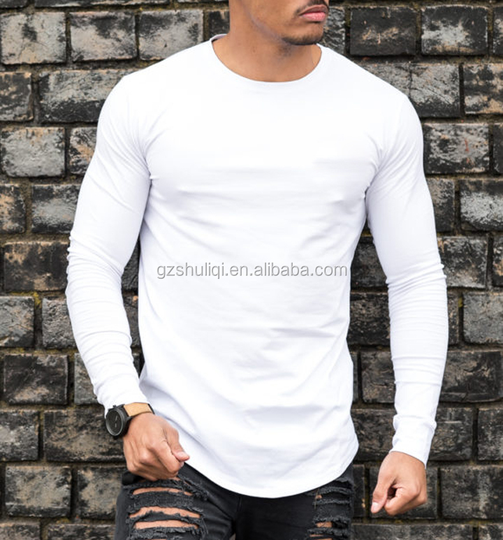 custom slim fit men's t shirts with good quality/wholesale men long sleeves t shirt with thumb hole H-2576