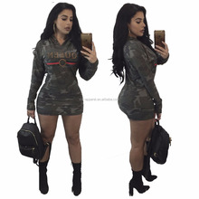 Plus size sexy camouflage sweatshirt dress with hood for women