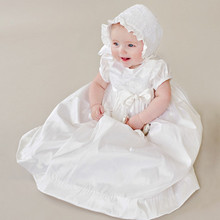 Lace First Communion Dress Vintage Short Sleeves Applique Baby Girl Baptism Christening Dresses Baptism Bow Gown