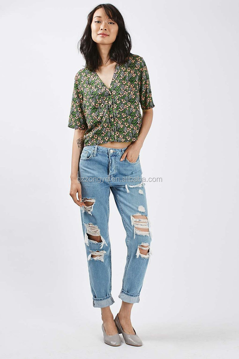 100% Viscose Ditsy Floral Cropped korean ladies tops latest design