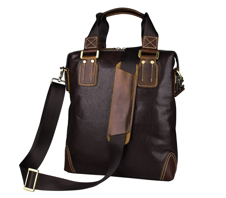 7293C-1 New Arrival Cofee Vintage Trend Genuine Leather Bag Tote Bag Men for Ipd