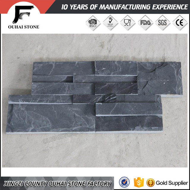 Chinese manufacture wall claddings black cultural slate natural stone corner