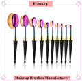 Factory directly provide wholesale price new colorful handle fashion design 10pcs oval toothbrush makeup brush set