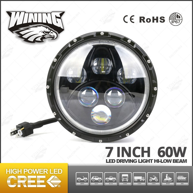New Release 7inch High/Low Beam LED Headlight LED Headlight with Angel Eyes, 60w Headlight Front Light Jeep Wrangler Cool Design
