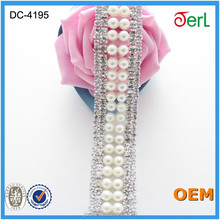 Luxury rhinestone party decoration, crystal beaded trimming, strass chain trim for wedding dress