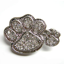 Costume Double Paw Print Clear Rhinestone Pin Brooch
