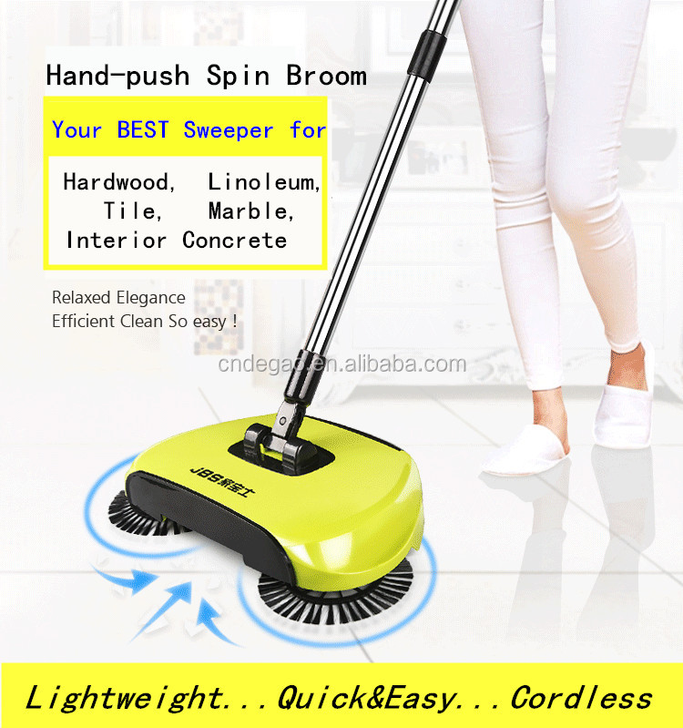 Hand Push Propelled Hard Floor Sweeper 360 Degree Rotate Spin Broom