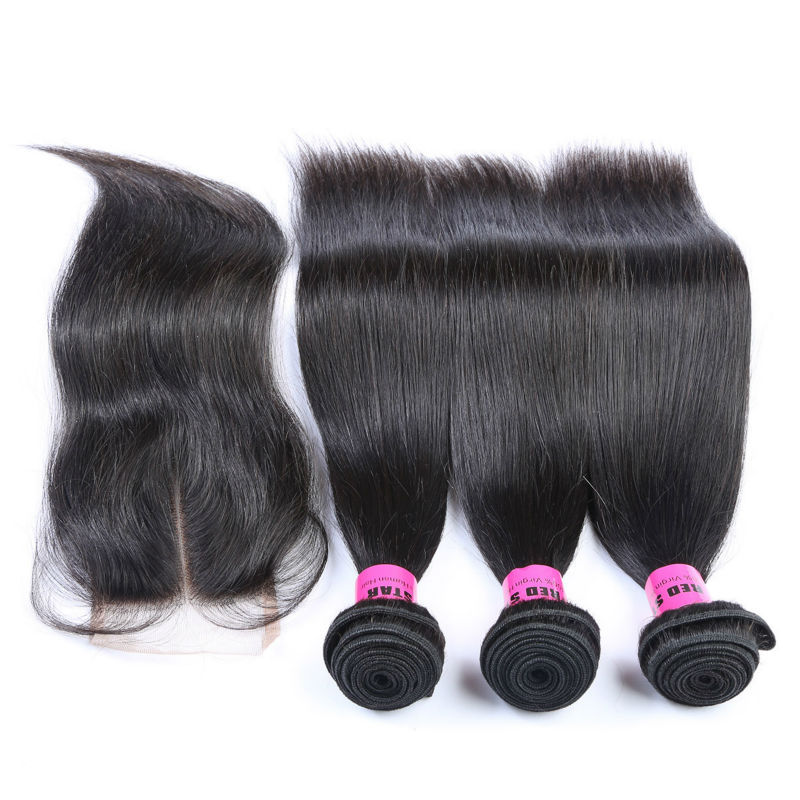 Virgin Hair Brazilian Straight Lace Closure with 3pcs Hair Bundles Unprocessed Human Hair Extensions 4pcs Lot Free Shipping
