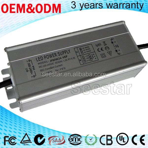 Waterproof 12V 2.5A 60W 80w 100w ac dc adapter pwm triac dimmable led driver ip67