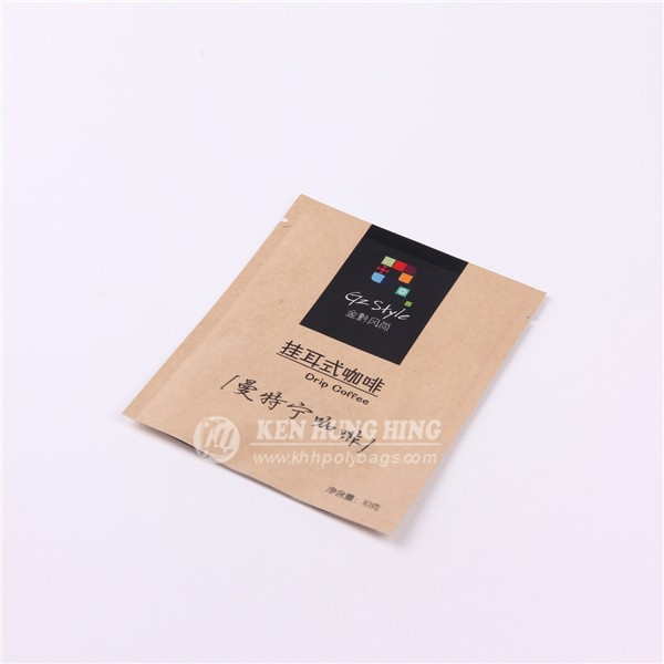 China Supplier Customize 3-side Seal Kraft Paper Eco Friendly Starbucks Coffee Bag