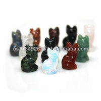 1 Inch Lucky Cat Gemstone Figurine Carving Assorted Semi Precious Stones