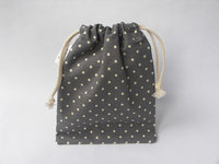 Mini Linen Cotton Drawstring Bag With Dots