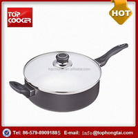 Grey Aluminum White Ceramic Coated Double Handle Air Frying Pan