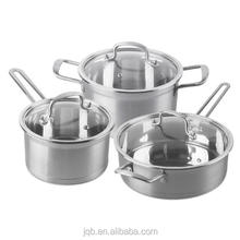 6Pcs Mirror Polishing Stainless Steel Tri-ply Stock Milk Pot Fry Pan Cookware Set