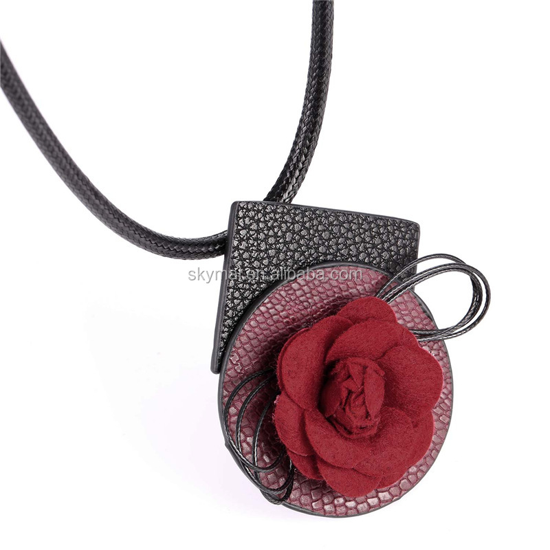 New 3 Color Vintage Flower Choker Collar Necklace Pendant Fashion Women PU Leather Collier Boho Jewelry 2 Use Accessories
