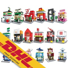 Mini Street Stores Building Block DIY Model Plastic Architecture City Series Mcdonald's Small Shop Educational Toys for Children