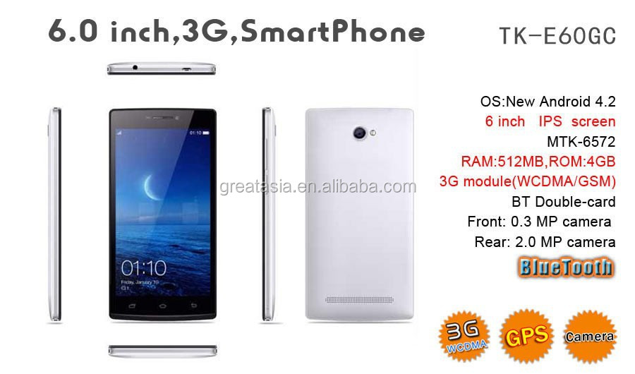 "New hot selling 6 inch smart phone, android 6"" mtk6572 dual core tablet android, cheap 6 inch mobile phone"
