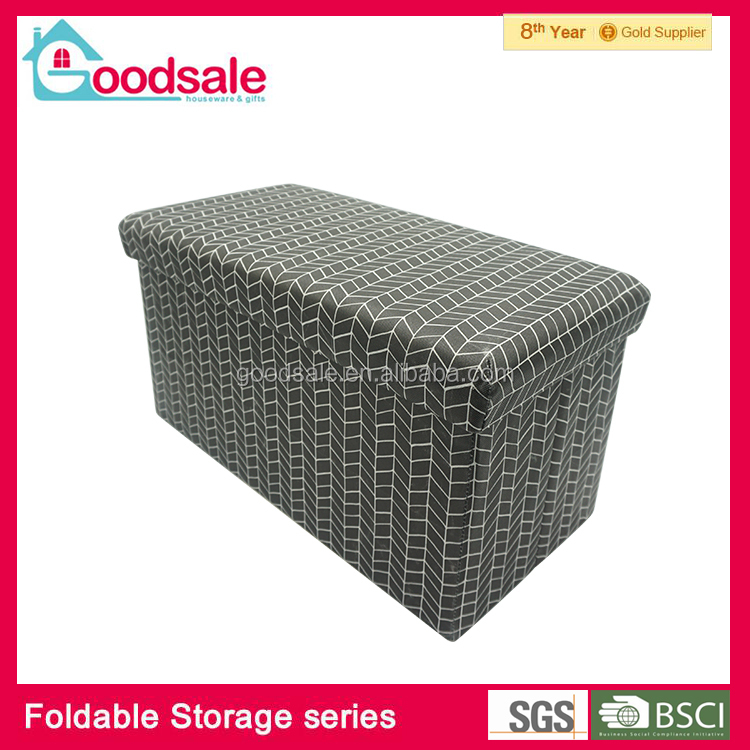 Living room furniture folding storage bench ottoman padded foot stool with non-woven printing