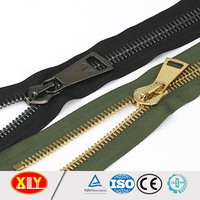 Good quality high polish shiny black gun metal zipper