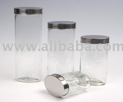 Glass Oval Storage Jars Set (K780-4ps)