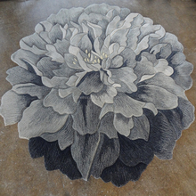 Sculptured flower shaped carpet hand carved Rose Lotus rug