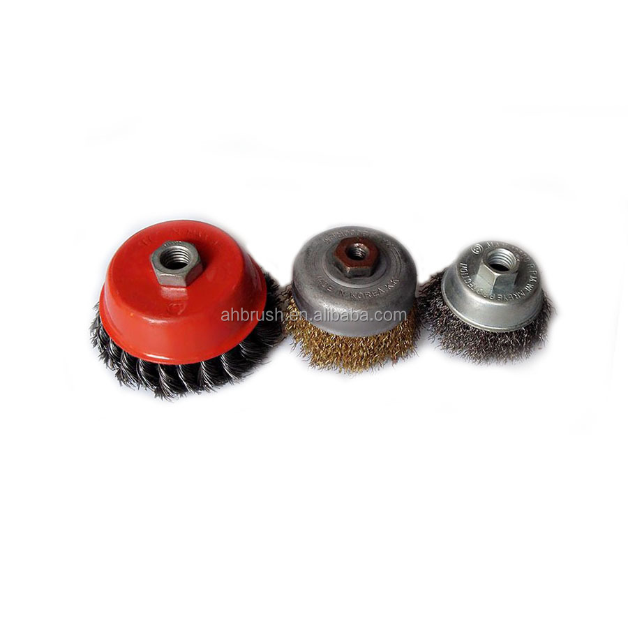 High quality twisted knot steel wire cup brush in machine