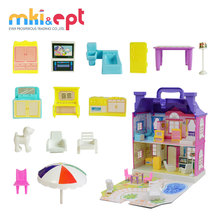 Funny dollhouse with miniature furniture pink doll house for sale