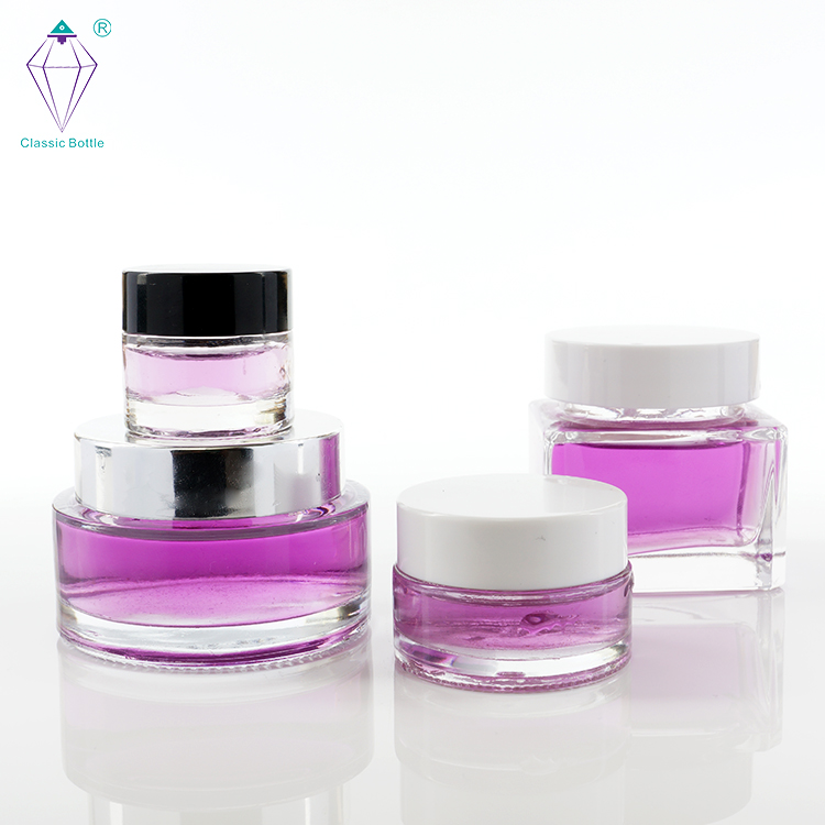 Colored Cosmetic Cream Packaging Glass bottle and jar with twist off cap