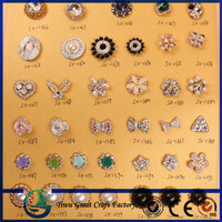 NEW 15mm pearl rhinestone buttons with shank for flower center embellishment or hair bow craft DIY