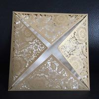 Gold Laser Cut Lace Vintage Flower E15 Wedding Invitation Cards with Envelope,Seal,blank inside card