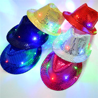 Party funny crazy cheap Flashing Sequin Sequin Fedora hat/ led hats SJLH01