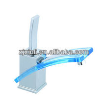 High Quality Glass Waterfall Basin Faucet, Used in Wash Basin, Brass Body with Glass Spout