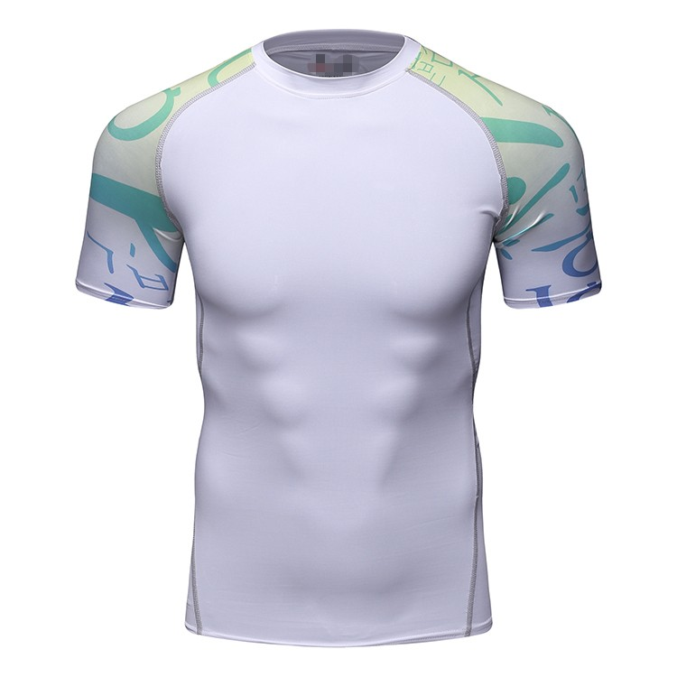 mens fitness Gym Sport apparel manufactures compression clothes running wear sublimation shirt tops Wholesale