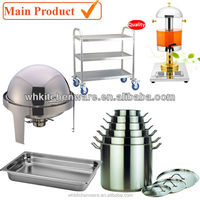 SS Chafer, GN Pan, juice dispenser, work table and more restaurant supply for hotel kitchen