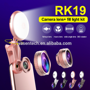 led spot light RK19 Beauty Artifact 9 levels Fill light adjustment with Fisheye Lens Wide Angle Leng Flash Light for smart phone
