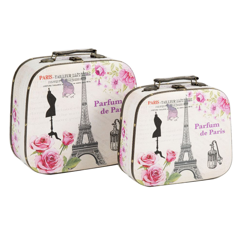 Wholesale floral canvas vintage suitcase paris with shell shape