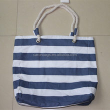recycled blue&white stripe promotional canvas cotton beach bag with rope handle