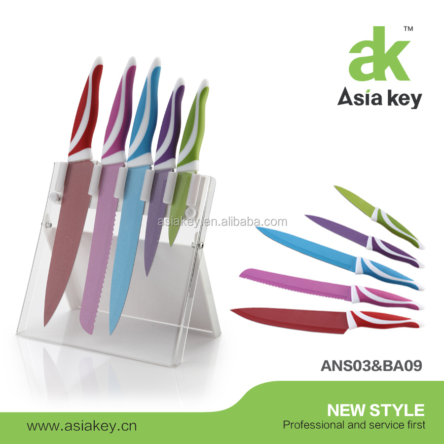 Swiss Line Knife 6PCS Color Non-Stick Knife Set With Acrylic Block