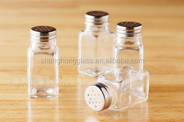 promotion custom made airtight empty mason jar style square kitchenware glass spice jar