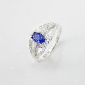 Shiny AAA Cubic Zircon Stone Rhodium Plating 925 Silver Ring with Blue Stone