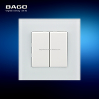 10A 2 gang 1 way wall switch with metal tempered crystal glass panel EAC certificate