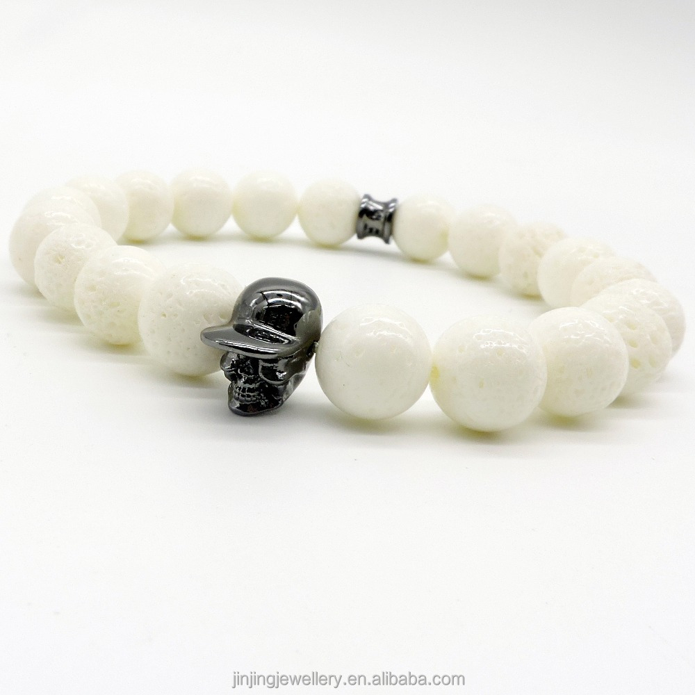 JJ jewelry factory new style howlite / White coral hatted skull womens fashion big beads skull Bracelets