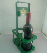 Plastic foldable two bottles cardboard wine carrier